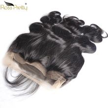 Ross Pretty Remy Peruvian Body Wave Hair Pre Plucked 360 Lace Frontal Natural Color 1b Front Baby Closure