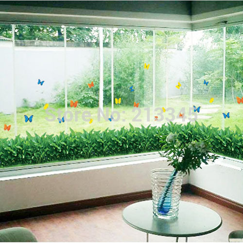 [Fundecor] съемные diy домашнего декора зеленая трава домашний сад стиль гостиная оконное стекло декоративные настенные наклейки ...