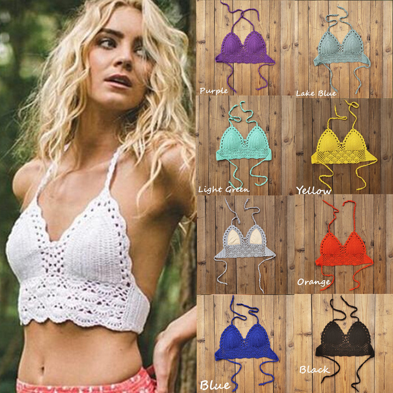 11 Color Handmade Crochet Lace Knit Bra Boho Beach Bikini Top Halter Tank Crop Top With Lining