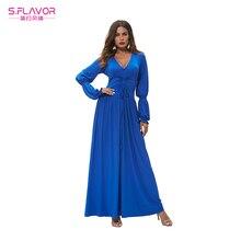 db838d96e0f4 S. SABOR elegante azul com decote em v vestido longo mulheres sociais fino  verão primavera