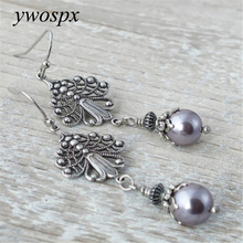 YWOSPX Vintage Purple Pearl Silver Color Dangle Earrings for Women Jewelry Engagement Statement Drop Earring Brincos Bijoux Gift