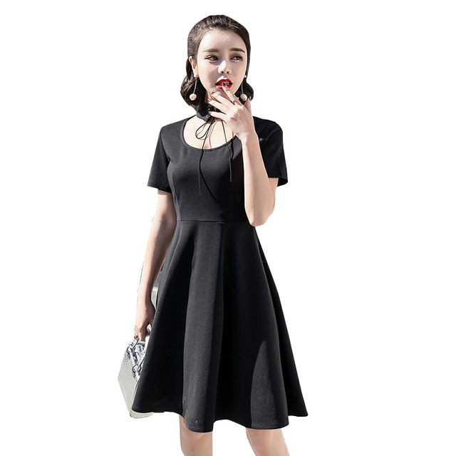 9bd0428237f Summer Dresses Women Black Sexy Party Dresses Chic Chokers Neck Lacing  Vintage Elegant Mini Dress for