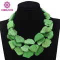 Green Turquoise Beads Necklace Jewelry Chunky Bold Statement Necklace African Wedding Jewelry Necklace 2017 Free Shipping TN155