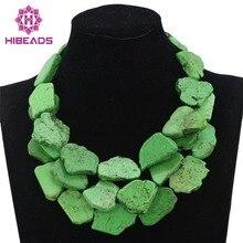 Verde Granos de la Turquesa Collar de La Joyería Collar Llamativo Chunky Negrita TN155 Joyería de La Boda Africana Collar 2017 Envío Libre