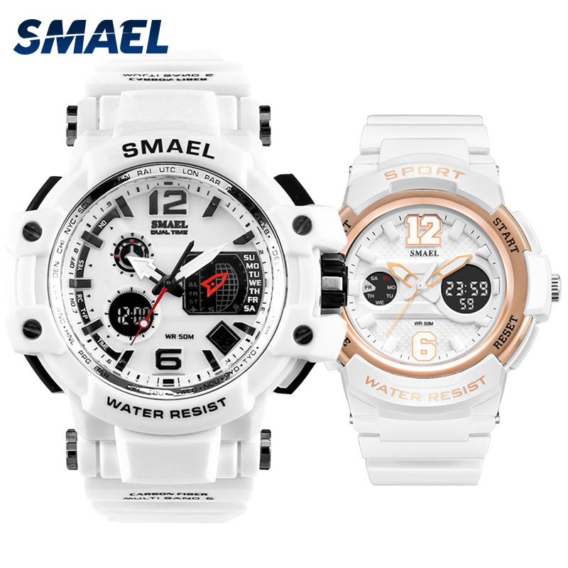 SET Couple's Sport Watches Fashion SMAEL Led Wristwatches Waterproof Hot-sell Relógio Masculino Resistance 1509 1632Watch For M