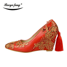 BaoYaFang New arrival Tassel womens wedding shoes 8cm Wedge shoes woman High heels pumps Female party dress shoes