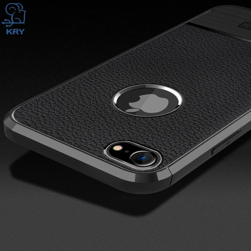 KRY Carbon Fiber TPU Phone Cases For iPhone 7 Case Thin Protective Cover For iPhone 7 Plus Cases Soft Litchi Grain Capa Coque