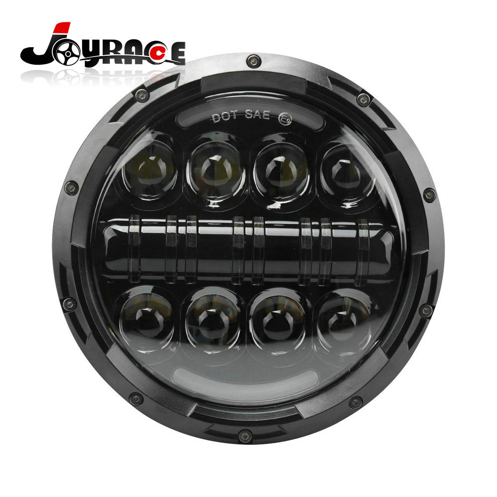 7 80W Round Motorcycle LED Daymaker Headlight Angle Eyes with Amber Signal Halo DRL Halo for Harley Davidson led projector headlight dot motorcycle 7 inch round led headlights drl 7 80w drl led daymaker headlight for harley davidson