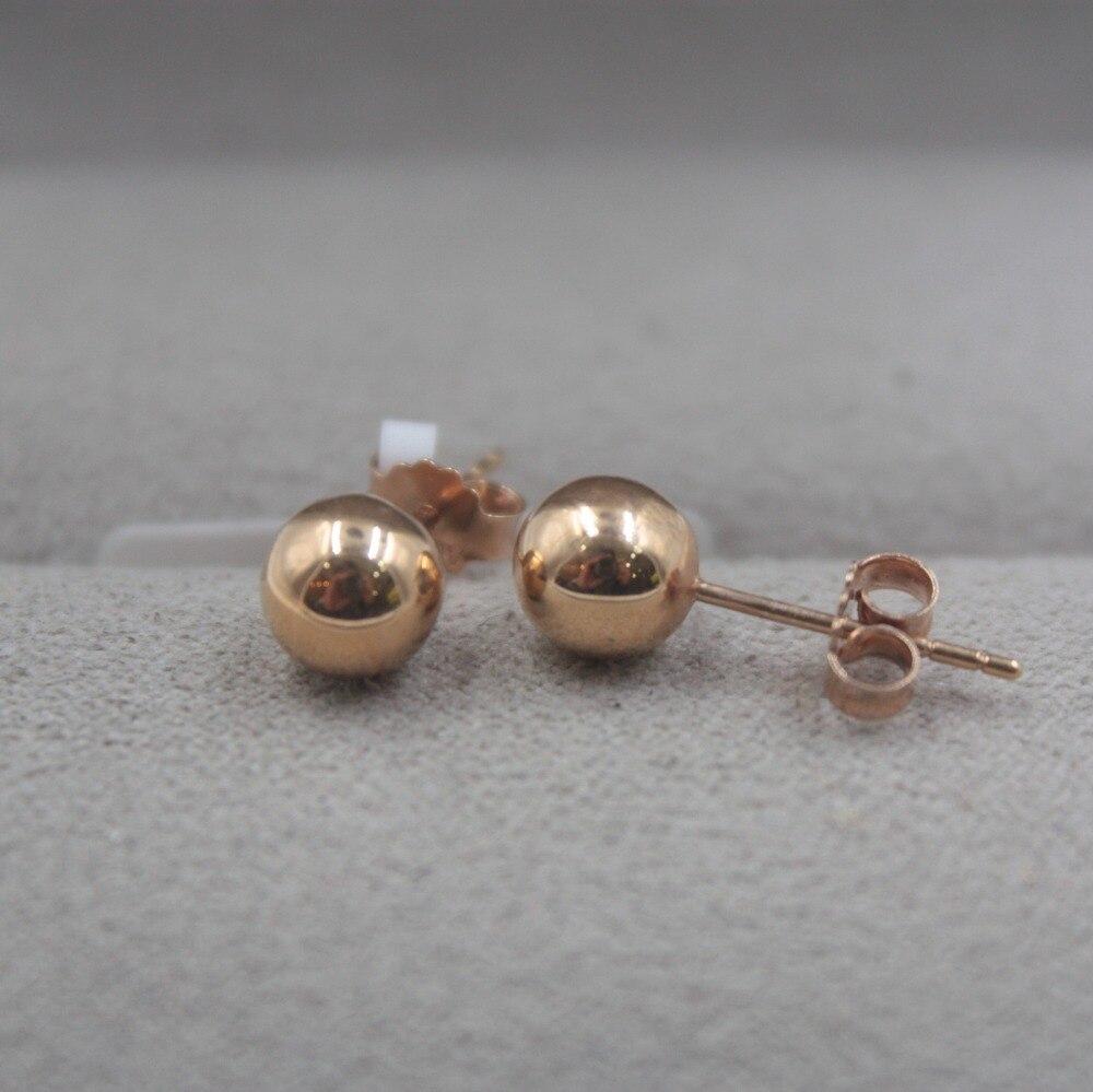 Pur 18 K or Rose boucles d'oreilles personnalisé petite boule lisse mignon boucles d'oreilles 1.3-1.5g tous les jours bijoux petite amie meilleur cadeau - 5
