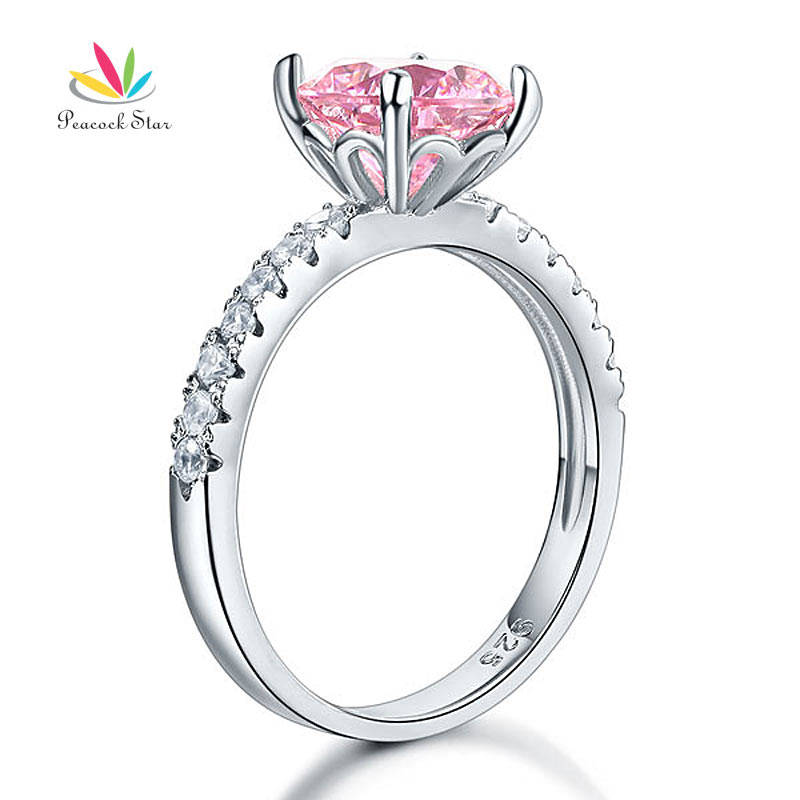Peacock Star 925 Sterling Silver Bridal Wedding Promise Engagement Ring Fancy Pink 2 Carat Jewelry CFR8213 peacock star solid sterling 925 silver bridal wedding promise engagement ring set 2 ct pear jewelry cfr8224
