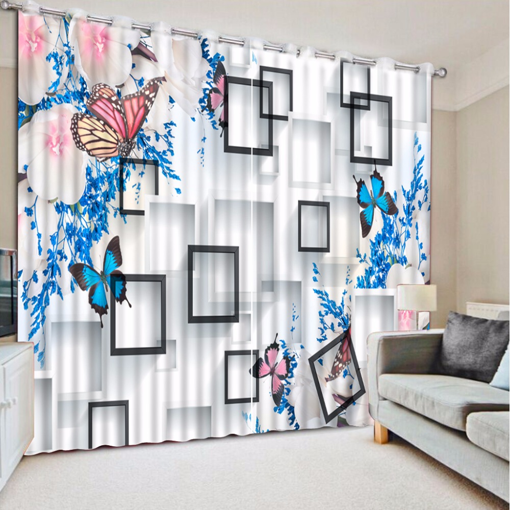 3D Curtain Plaid Blue Butterfly Flower Curtains For Bedroom Custom Any Size 3D Curtain printing  Blackout Curtain Living Room3D Curtain Plaid Blue Butterfly Flower Curtains For Bedroom Custom Any Size 3D Curtain printing  Blackout Curtain Living Room