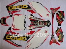 Новый 2010 2011 2012 2013 мотоцикл мотокросс 3 м графика комплект наклейки наклейки для honda самокат стикеры скутер наклейки мото грязезащищенная ямы CRF CRF250R 250 велосипеды стикеры наклейки
