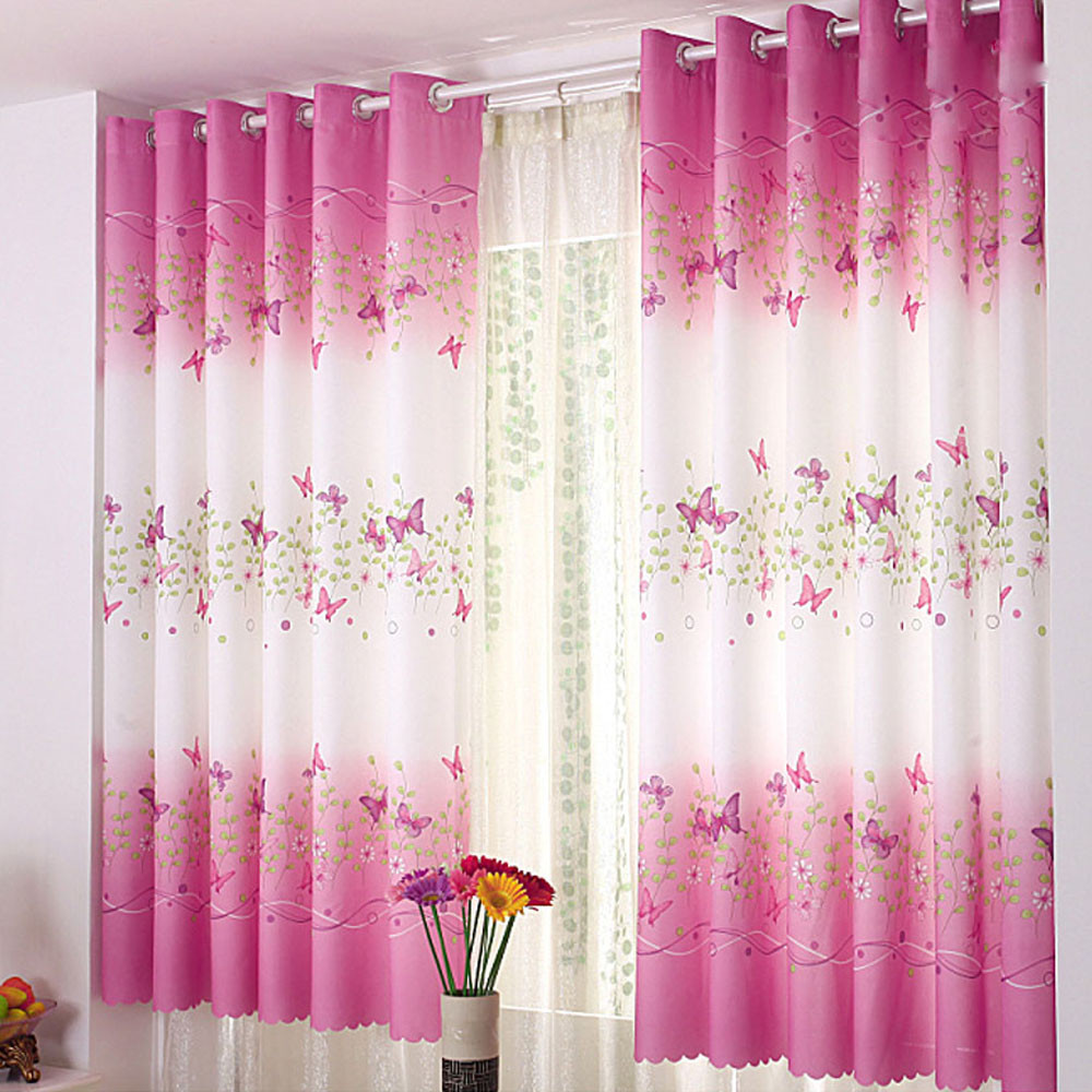1*2M High Quality Butterfly Window Screens Curtain Calico Finished Product  Cloth Window Screens Curtain