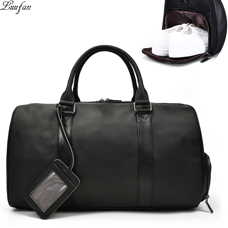 Men Travel Bag Soft Genuine Leather Big Travel Duffel Overnight Large Capacity Black Business Luggage Weekend