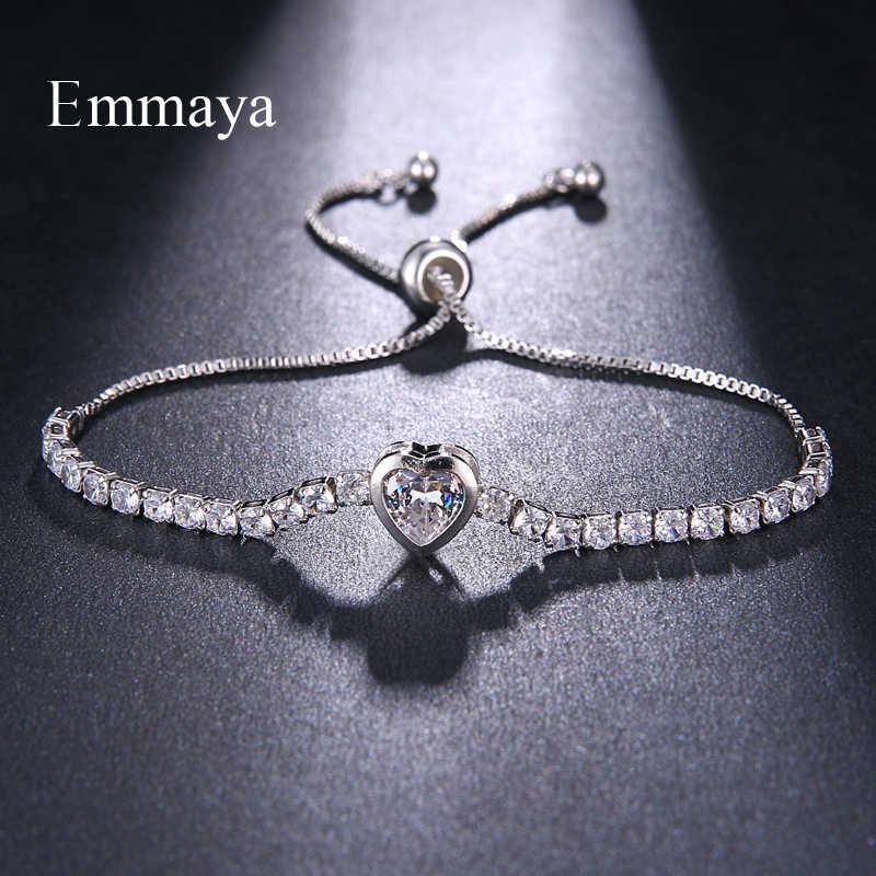 EMMAYA регулируемые женские браслеты в форме сердца из кубического циркония, женские браслеты, ювелирные изделия для женщин, браслет с подвесками