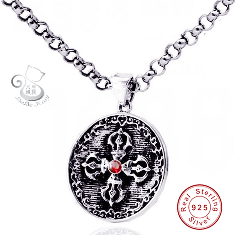 Fashion Shape Round Pendant Necklace For Men Male Classic Rope Chain Punk Statement Chain Genuine 925 Silver Fine Jewelry fashion rhinestone hollow out tortile cross shape pendant necklace for men