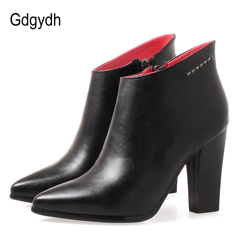 Gdgydh Fashion Rivet Short Boots Women High Heels 2018 New Spring Autumn Party Shoes Pointed Toe Ladies Ankle Boots Leather eiswelt shoes spring summer fashion rivet flats party pointed flock women shoes wedding shoes glitter flat ladies shoes zjf84