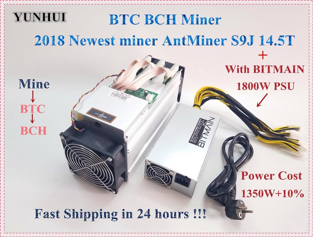 En 24 horas más nuevo BTC Miner AntMiner S9j 14,5 T con BITMAIN APW7 1800 W PSU Btc BCH Miner mejor que Antminer S9 S9i 13,5 T T9 +