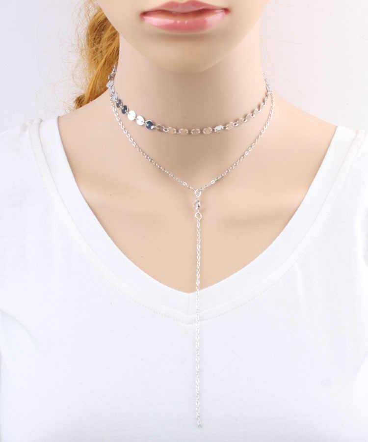 Thời trang Sang Trọng Đơn Giản Bohemian Choker Vòng Cổ Phụ Nữ Hợp Kim Sequins Maxi Vòng Cổ Pha Lê Cổ Áo rỗng Chocker Sức Đồ Trang Sức Bijoux