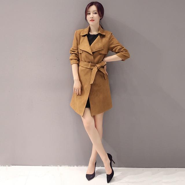 2017 Весна Корейский стиль двубортный lape женщины тренч высокое качество мода все матч с длинными рукавами дамы верхняя одежда H159