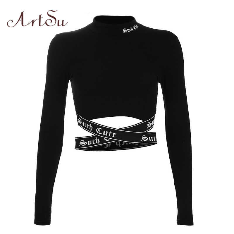 ArtSu Streetwear Gothic Letter Sexy Crop Top Long Sleeve Women T-shirt Stand Collar Cross Tee Shirts Femme Black Tops ASTS20500