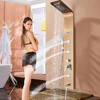 Розовое золото душ кран настенное крепление Ванная комната для ванны SPA массаж распылителя Системы Температура Экран Show Ванна Носик