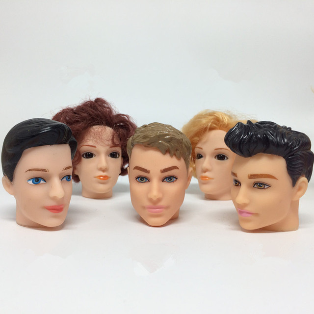 SALE 5Pcs/lot Mixed Styles 1/6 Male Doll Prince Ken Heads Face Film For DIY Dolls Heads Accessories Toy for Barbies Boy Friend