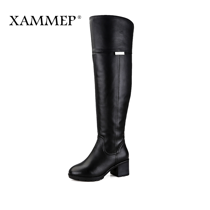 Xammep Brand Women Shoes Over The Knee Boots Plus Big Size High Quality Women Winter Shoes Genuine Leather Fur Wool Women Boots women s winter platform flats over the knee boots brand designer genuine suede leather patchwork elastic long boots shoes women