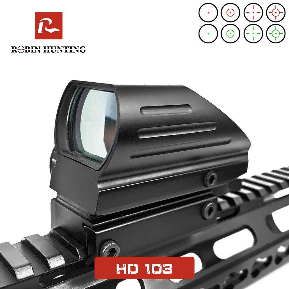 HD103 Holográfica Projetada Dot Sight Scope Tactical Reticle Reflex Red Green Laser 4 11/20MM Rail Mount Rifle âmbito Ponto Vermelho
