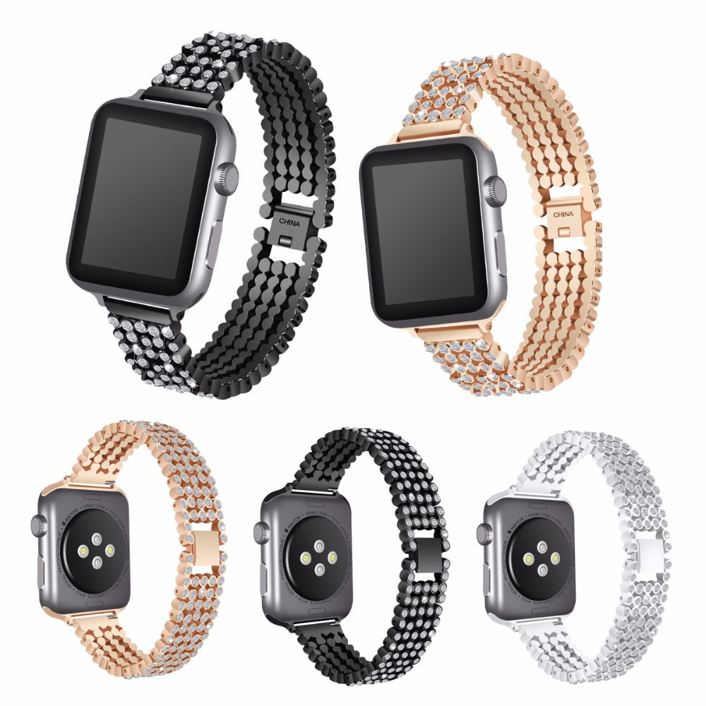 For Apple Watch band 38mm 42mm Stainless Steel Metal Replacement Wristband Sport Strap for Apple Watch Nike+, Series 3, Series 2 eache silicone watch band strap replacement watch band can fit for swatch 17mm 19mm men women