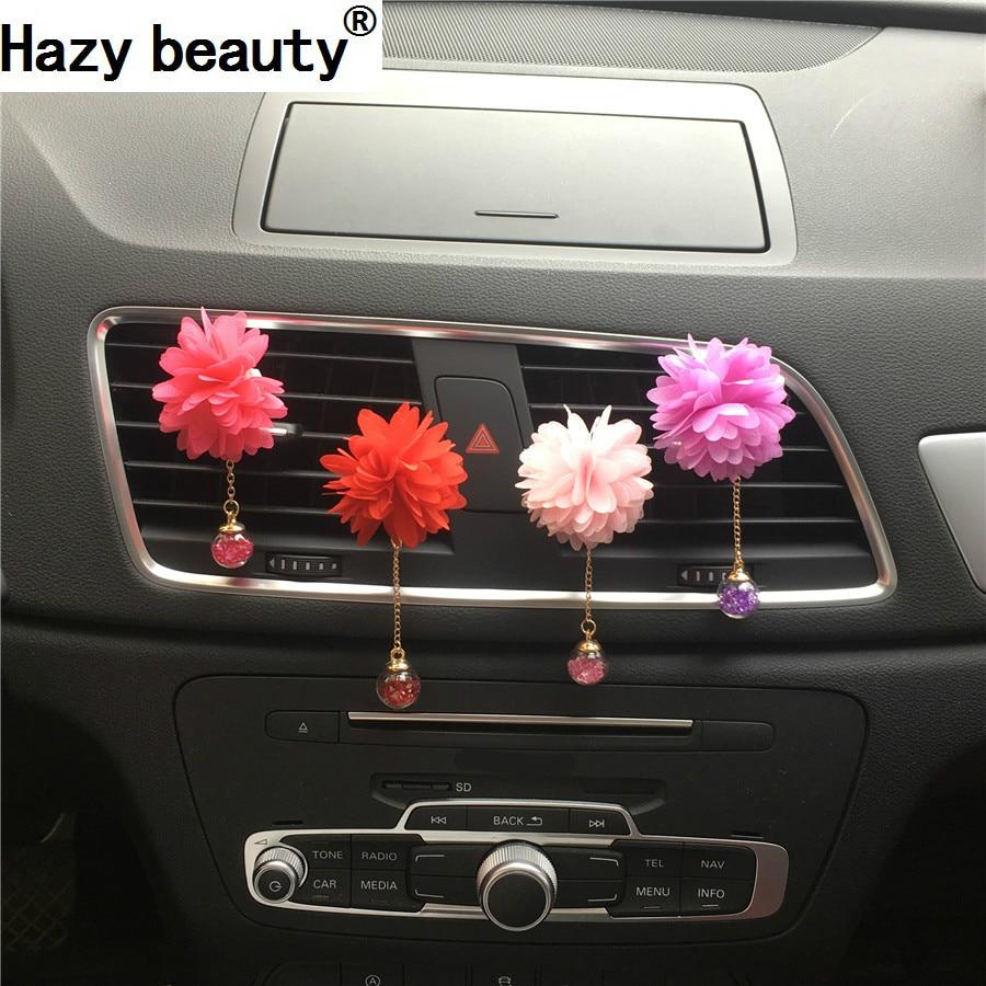 Belleza brumosa perfume del coche Bola de cristal flor colgante Paño - Accesorios de interior de coche