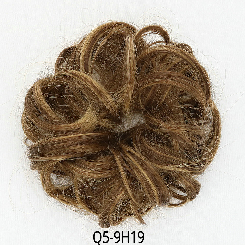 Synthetic Curly Chignon Bun Clip In Human Hair Extensions Blonde Brown Black Chignon Hair piece Wigs For Women Heat Resistant