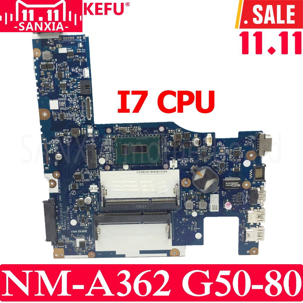 KEFU ACLU3/ACLU4 UMA NM-A362 Lenovo G50-80 Test original mainboard I7 CPU 5b20h14390 aclu3 aclu4 uma nm a362 for lenovo g50 80 laptop motherboard with 3805u cpu
