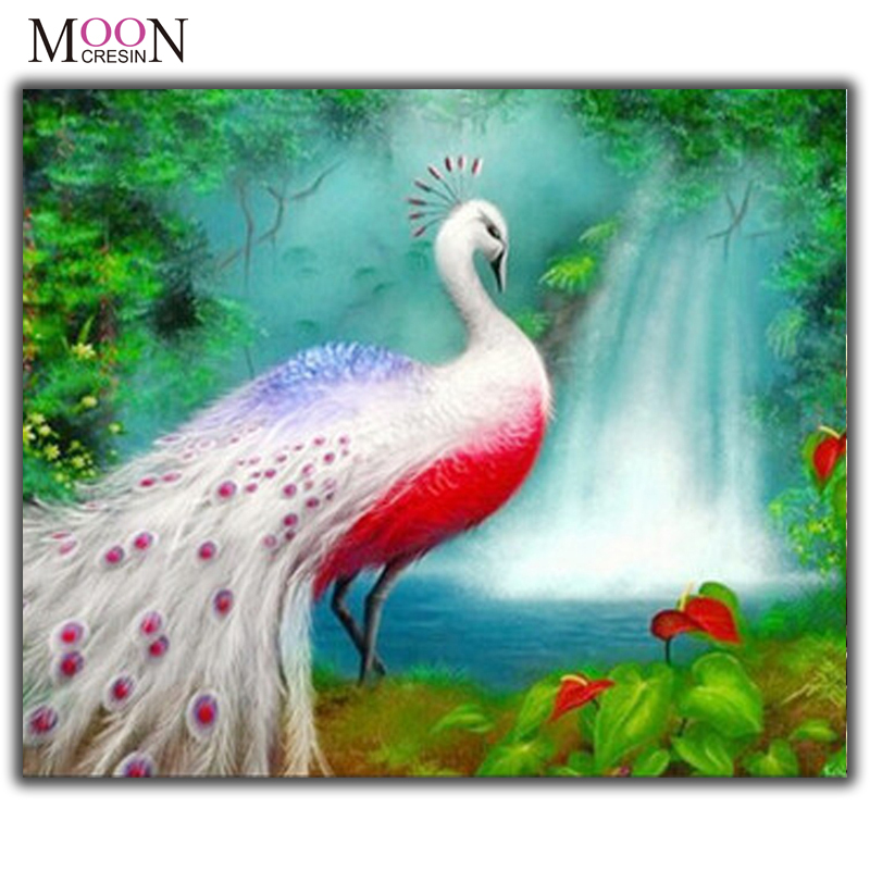 MOONCRESIN Diamond Painting Cross Stitch Peacock Waterfall Scenic Diy Embroidery Square &Round Mosaic Decoration