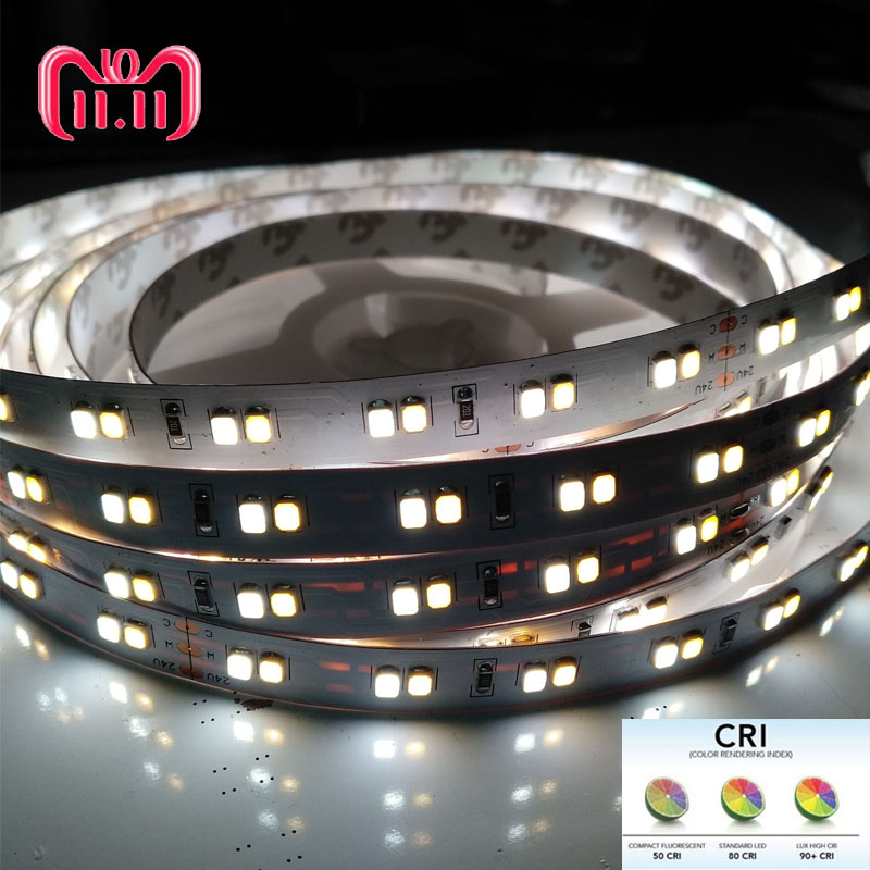 5m High CRI>90 1200lm/120LED/m  0.2W 2835 SMD LED Double Color 3000K 6000K  LED Strip Light White 24V CCT With Test Report