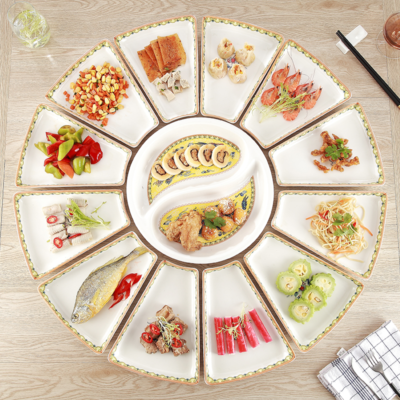 13pcs Bone China Dinnerware Large Plates Tableware Creative Ceramic Platter Display Combination Seafood Dishes and Plates Sets