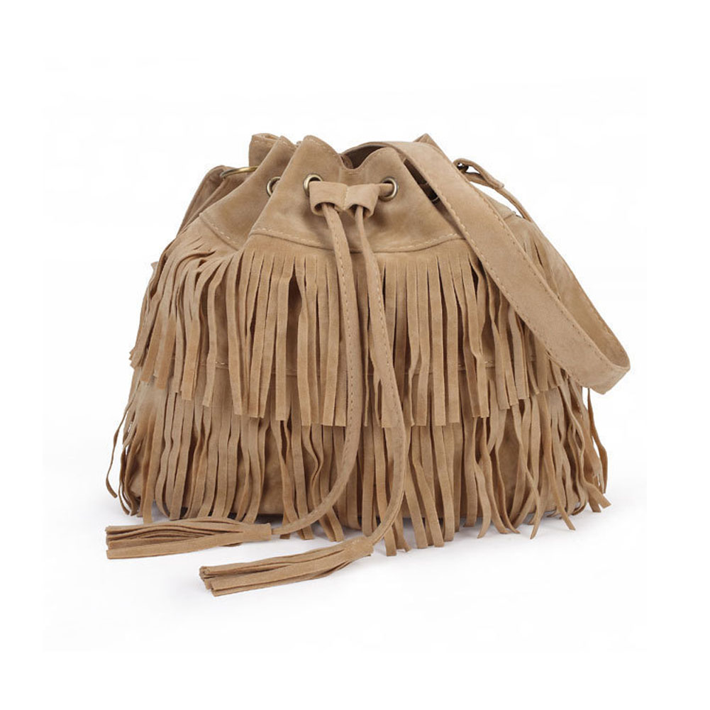 New Simple Retro Fringed Drawstring Bucket Tassel Shoulder Messenger Bag Women Bags PopularNew Simple Retro Fringed Drawstring Bucket Tassel Shoulder Messenger Bag Women Bags Popular