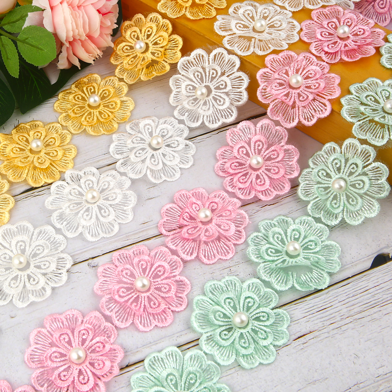 One Meter Polyester Double Layer Floral Lace Fabric DIY Ribbon Patchwork Craft for DIY Apparel Sewing Accessories Width 5 5cm in Lace from Home Garden