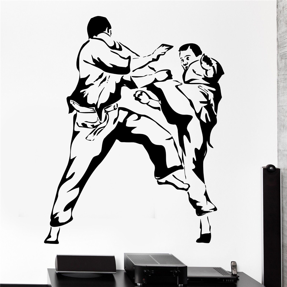new wall sticker sport karate martial arts fighting fighter vinyl decal wallpapers for home. Black Bedroom Furniture Sets. Home Design Ideas