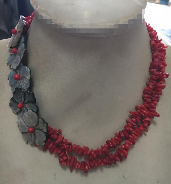Collier de 2 strs 18 ''en argent naturel avec coquille de corail rouge