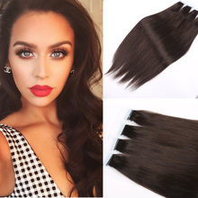 Brazilian Glue Skin Weft Human Hair Extension Straight Hair Tape Hair Extension Brown Skin Weft Hair