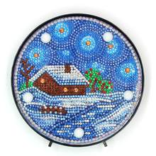 Meian Winter House Christmas Custom Diy Diamond Painting Led Lamp Night Light In The Living Room Adhesive Sticker(China)