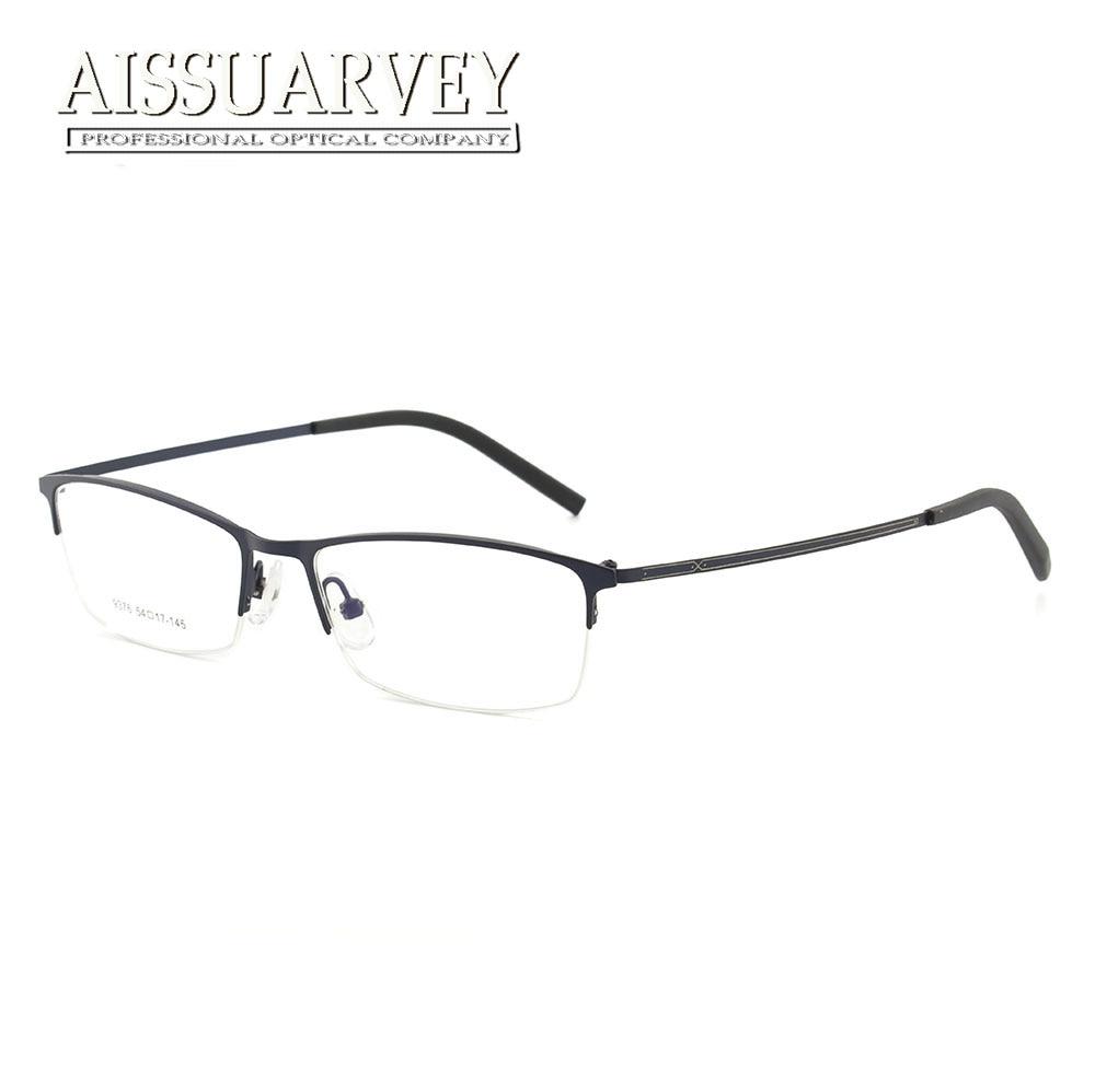 c9baf1acd23ef الرجال النظارات إطارات معدنية بسيطة موضة النظارات البصرية وصفة النظارات نصف  حافة نظارات القراءة الكمبيوتر رخيصة