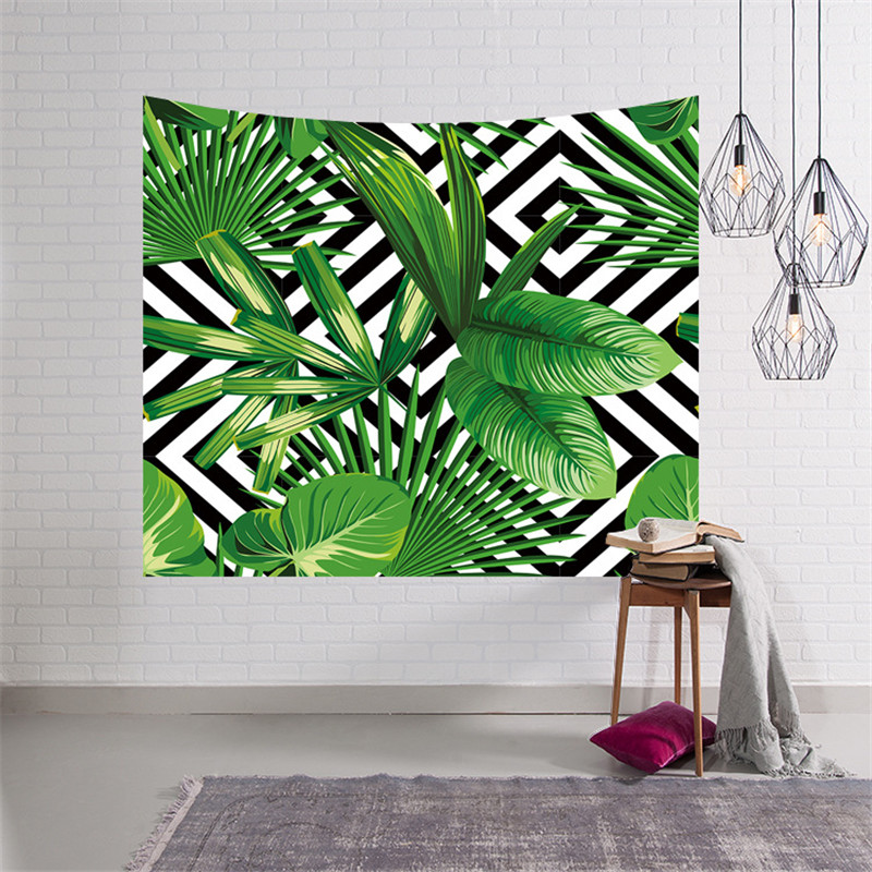 2018 New Tropical Plants Geometric Green Leaves Tapestry