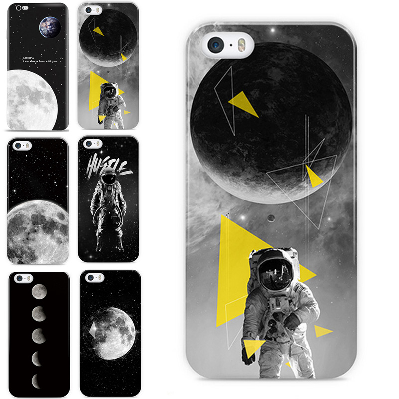 For Apple iPhone 7 7 Plus 6 6S 5S SE Case Space Moon Photos Crystal Clear Soft TPU Ultra Thin Cover