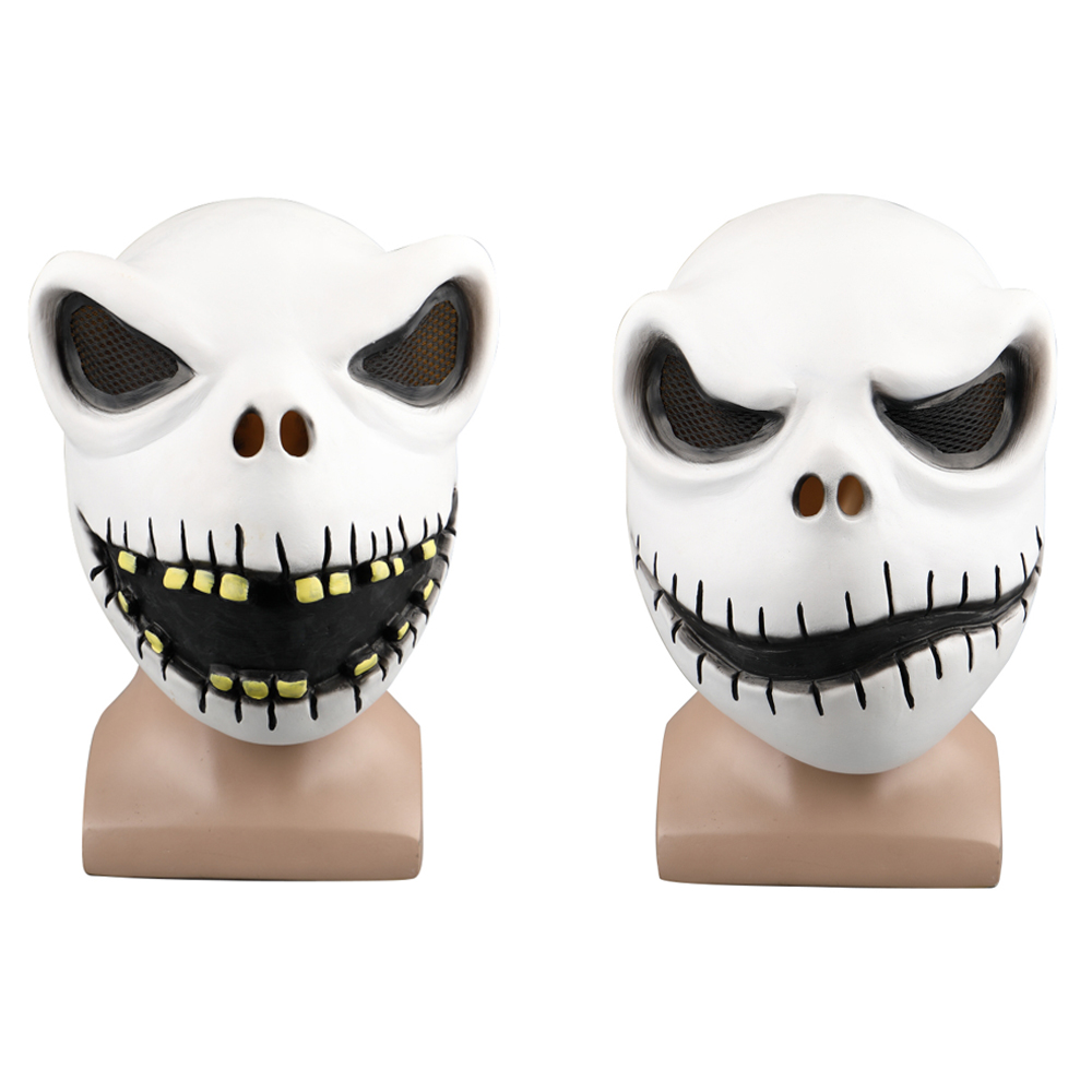Movie The Nightmare Before Christmas Jack Skellington Cosplay Face Masks Pumpkin King Full Head White Latex Props Halloween Gift
