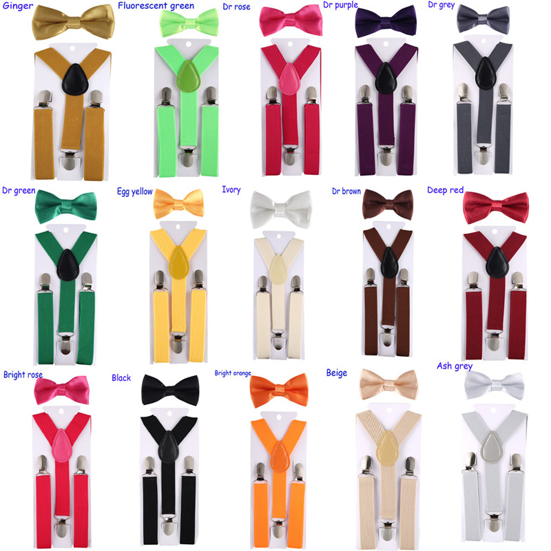 Kids Suspenders With Bowtie Fashion Children Bow Tie Set Boys Braces Girls Adjustable Suspenders Baby Wedding Ties Accessory