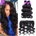 Virgin 10A Human Hair Malaysian Lace Frontal Closure 13x4 With Baby Hair Free Part Bleached Knots Body Wave Lace Frontals