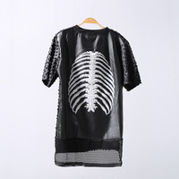2016 Summer Cool Extended Grid T Shirt Men With Leather Plastic Breathable Bones Print XXL