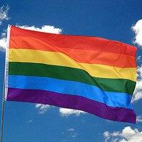 1 قطعة الملونة قوس قزح العلم البوليستر كبير مثلي الجنس فخر العلم مع النحاس الحلقات راية معلقة ودية LGBT العلم 90 سنتيمتر * 150 سنتيمتر